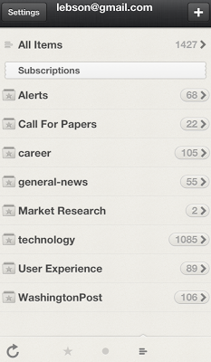 Screenshot of Reeder on iPhone showing the categories described below