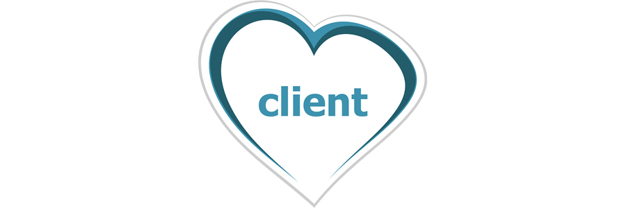 The word 'client' within a heart