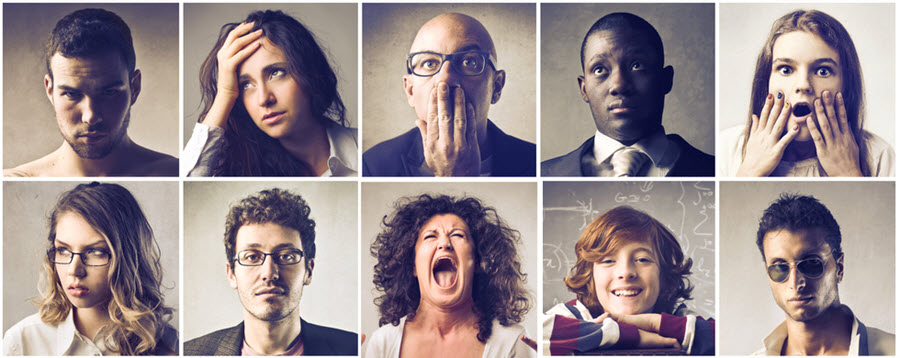 Stock photos of 10 people, each with a different facial expression