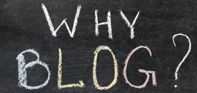 Chalk board with words: why blog?