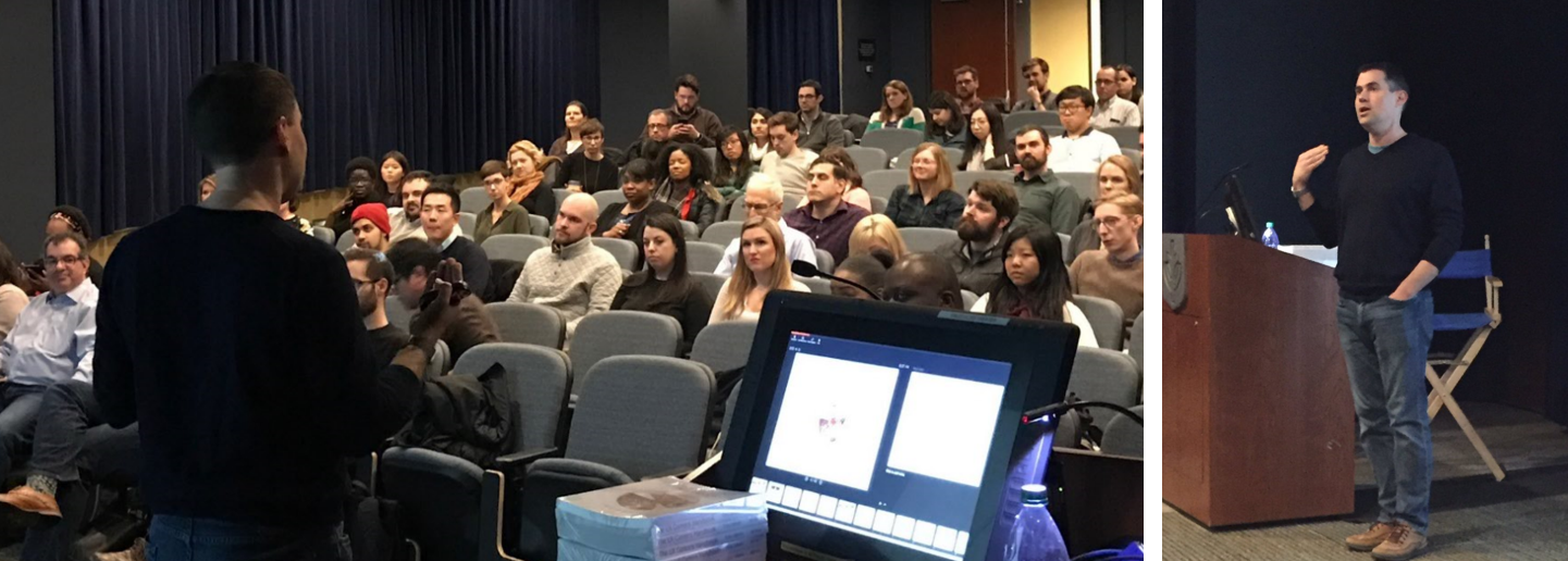 Image contains two pictures - one looking at Cory from the back, speaking to a crowd in a lecture hall and he other from the front of Cory speaking