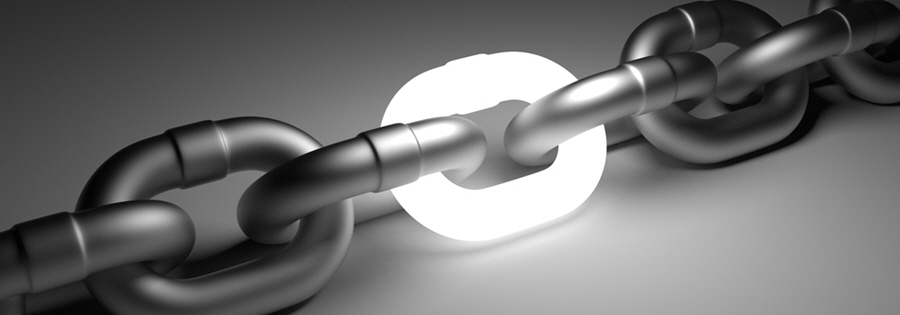 Image of a chain with a lighted link as a connector