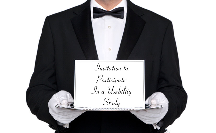 Butler holding invitation on a silver tray to participate in a usability study