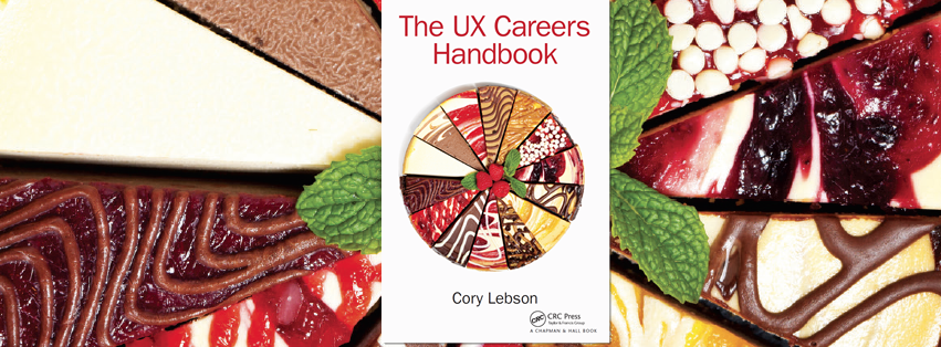 The UX Careers Handbook Cover with multiple flavors of cheesecake forming a whole