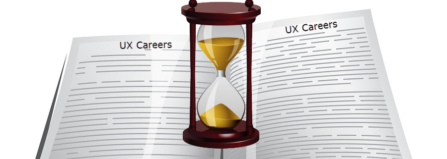 Open book with hourglass in center and text overlay: UX Careers