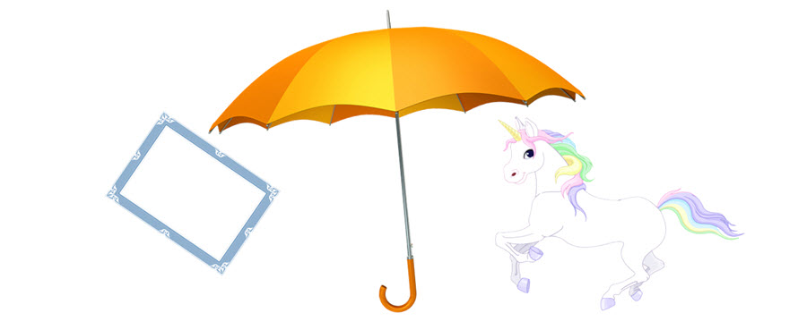 Umbrella, unicorn and certificate
