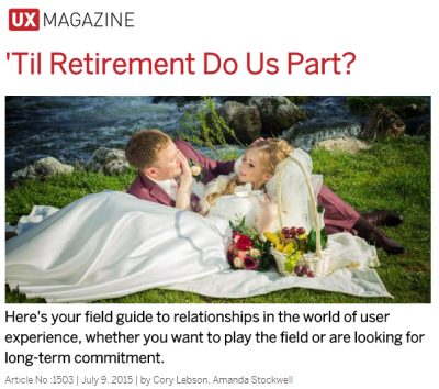 Screenshot from article header on website with Victorian image of man and woman on the lawn and text: Here's your field guide to relationships in the world of user experience, whether you want to play the field or are looking for a long-term commitment.
