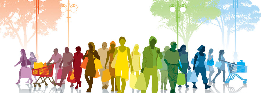 many colorful silhouettes of people walking forward with representations of shopping such as shopping carts or bags