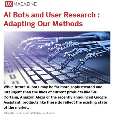 Screenshot from article header on website with image of robot hand typing on keyboard - text says: While future AI bots may be far more sophisticated and intelligent than the likes of current products like Siri, Cortana, Amazon Alexa or the recently announced Google Assistant, products like these do reflect the existing state of the market. Article No :1630 | June 2, 2016 | by Cory Lebson.