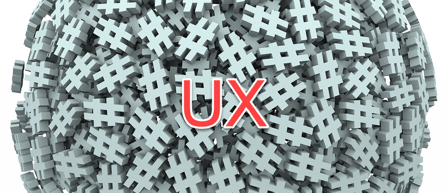 A conceptual 3D pile of hashtag symbols with big red text that says UX as an overlay.