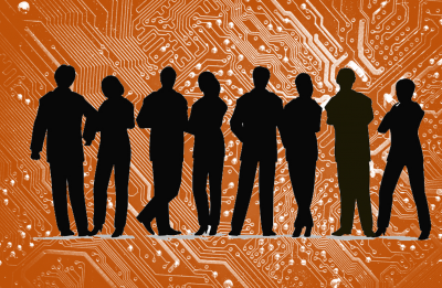 Representation of a circuit board overlaid with back silhouette of 8 people