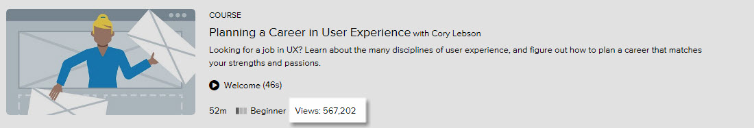 Lynda.com Planning a Career in User Experience course link screenshot highlighting over 500K views