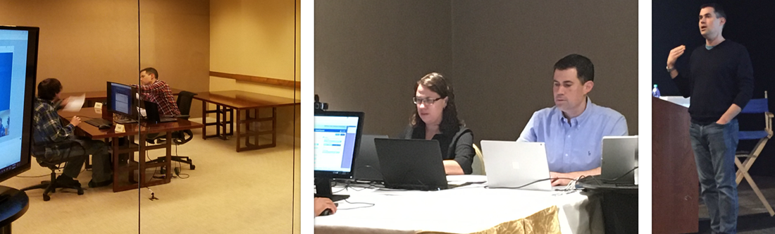 Collection of three images - Cory talking with a participant in a research lab behind one way glass; Cory and Edie in a hotel conference room conducting research; Cory speaking on a stage