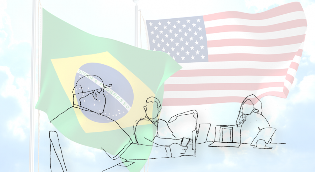 Flags of Brazil and the United States overlaid with a pencil sketch of a participant, moderator and interpreter in a room - the participant has a phone under a camera.