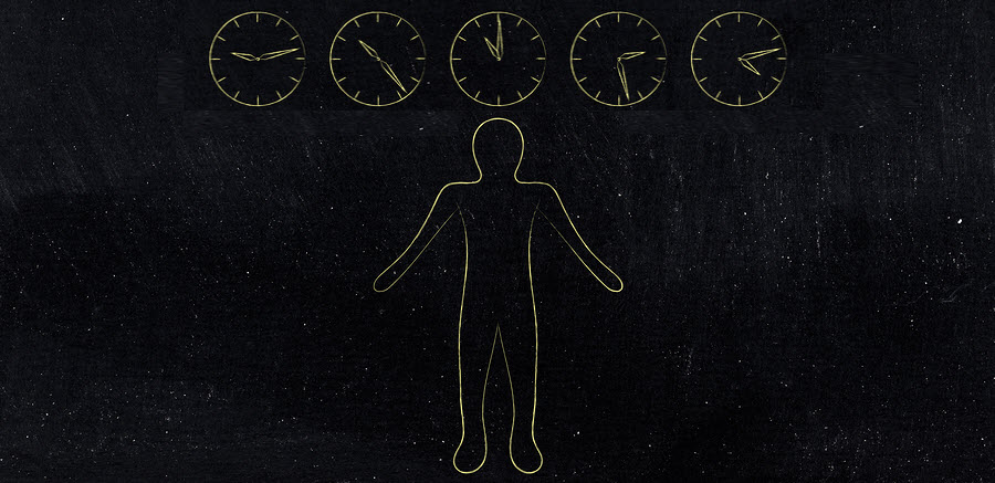 Outline of person below a series of clock outlines with hands at different times